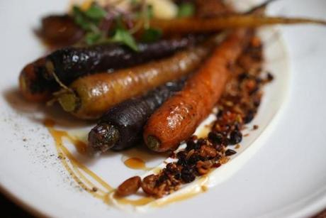 Cambridge Ma 4/03/2014 Dining Out Food shots at Alden&Harlow. Carrots. Boston Globe Staff/Photographer Jonathan Wiggs Topic: Reporter: