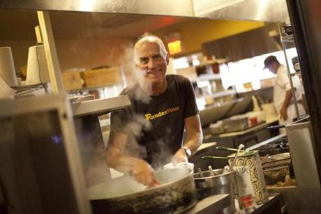 CAMBRIDGE, MA.--August 11, 2010-- Steve Johnson of Rendezvous in the kitchen of his restaurant. He writes a blog about fishing from his houseboat. GLOBE PHOTO BY JODI HILTON 13qanda