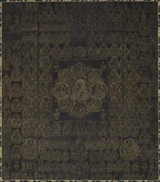12japan Caption and credit: Womb World Mandala (Taizokai mandara) Japanese, Kamakura period, probably early 13th century Hanging scroll; gold and color on indigo-dyed silk Harvard Art Museums/Arthur M. Sackler Museum, Gift of Sylvan Barnet and William Burto in honor of John M. Rosenfield, 2014.139 Photo: Harvard Art Museums, © President and Fellows of Harvard College.