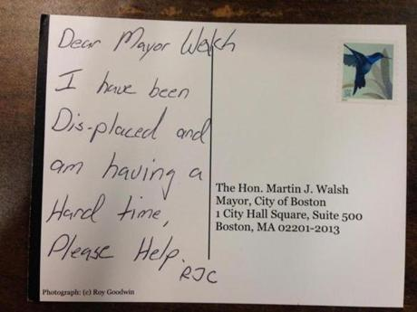 One of several postcards sent to the mayor by homeless men and women after the closing of the Long Island shelter.
