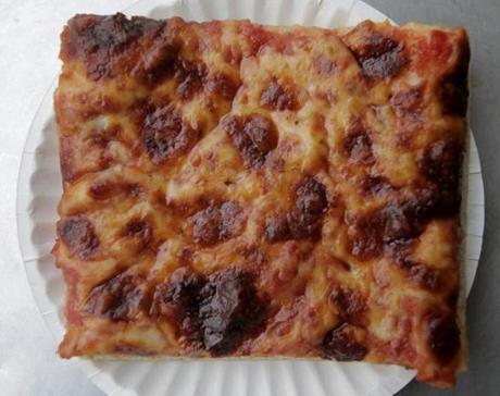 Boston, MA - 01/22/15 - Square cheese slices are the only pizza you can get at Galleria Umberto on Hanover Street in the North End. Lane Turner/Globe Staff Section: MAG Reporter: francis storrs Slug: 020815BestPizza
