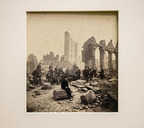 Photograph (possibly by David W. Butterfield) of Pearl Street, Boston, after the Great Fire of 1872, from the BPL archives.
