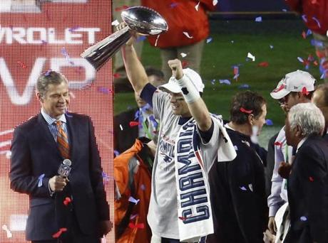Glendale AZ 2/1/15 New England Patriots quarterback Tom Brady holding up the Vince Lombardi Trophy after he was awarded the MVP after they defeated the Seattle Seahawks 28-24 winning the Super Bowl XLIX at the University of Phoenix Stadium on Sunday February 1, 2015. (Matthew J. Lee/Globe staff) Topic: Super Bowl coverage Reporter: