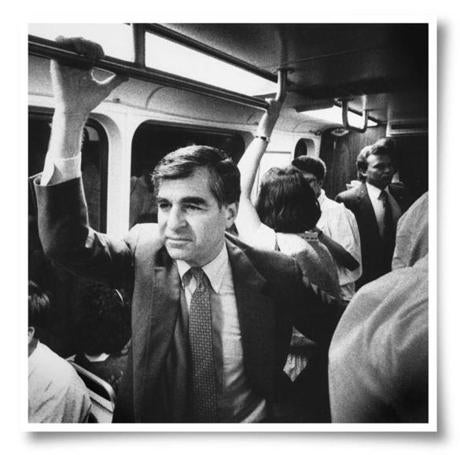Michael Dukakis riding the Green Line.