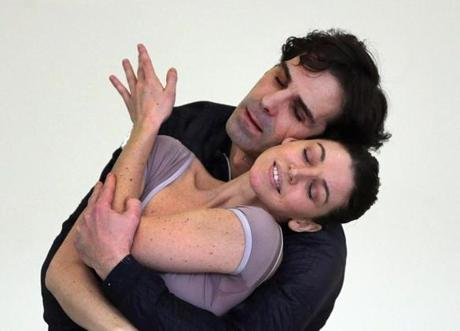 Yury Yanowsky rehearsed with his wife, Boston Ballet principal dancer Kathleen Breen Combes.