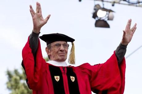 FOR METRO. Boston, MA 5/20/2012 Actor, Leonard Nimoy (cq) makes the gesture that made him famous when he played Spock on Star Trek, after receiving his honorary degree. The Boston University commencement takes place on Nickerson Field in Boston, MA on Sunday, May 20, 2012. (Yoon S. Byun/Globe Staff) Section: METRO Slug: 21bugraduation Reporter: Mark Arsenault LOID: 5.0.1298659016