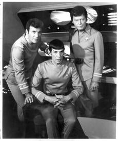 MOVIES: From left, WILLIAM SHATNER as Admiral (Captain) James Tiberius Kirk, LEONARD NIMOY as Commander Spock and DeFOREST KELLEY as Dr. Leonard H.