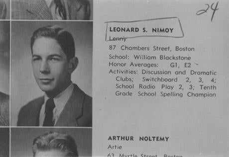 SPOCK VALUE: Leonard Nimoy, high school yearbook photo. Library Tag 04262009 Magazine