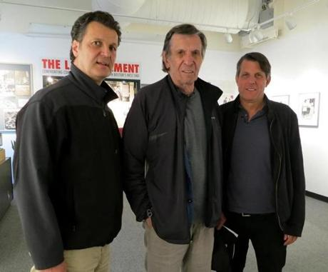 12names - West End Museum curator Duane Lucia with Leonard and Adam Nimoy at the museum. (West End Museum)