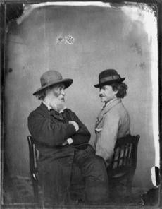 Walt Whitman with a rebel soldier and friend, Pete Doyle, in Washington in 1865.