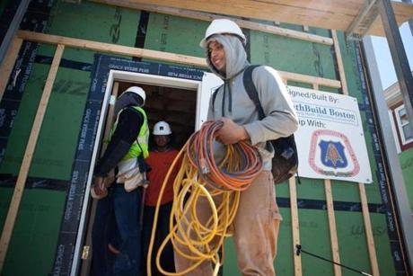 Rember Ochoa at the end of his shift at a YouthBuild, which helps young people earn GEDs and enter trades.