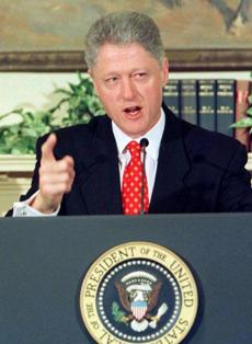"In a false hedge, President Bill Clinton said that he ""did not have sexual relations with that woman, Miss Lewinsky."""