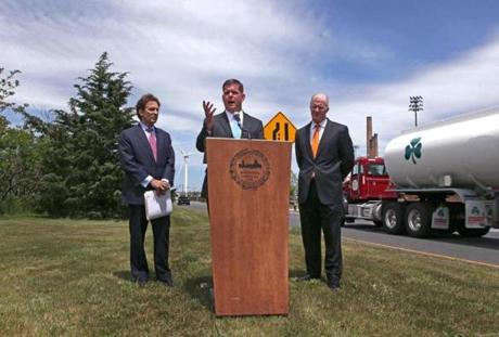 Boston Mayor Martin J. Walsh (center) held a press conference in May at a site along Alford Street near Sullivan Square to discuss the city's amended complaint against the Massachusetts Gaming Commission.