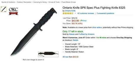 Ontario Knife SP6 Spec Plus Fighting Knife 8325 for sale on Amazon.com. (Screengrab)