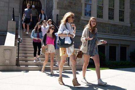 Lisa Gannon, left and her daughter Eliza Hering, 17, tour of the Boston College campus.