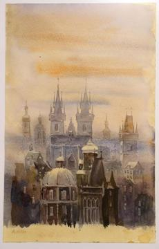 "Hitler's painting  ""Prague in the Fog."""