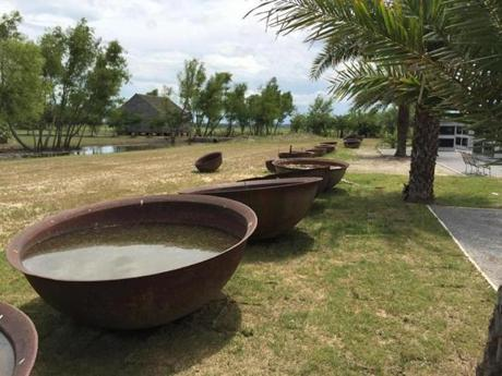 Sugar kettles used in the processing of sugarcane sit in a long line. )