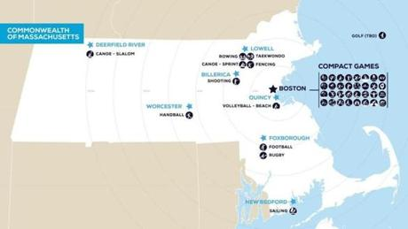 A map by Olympics organizers shows the sites of events that could be held around the state.