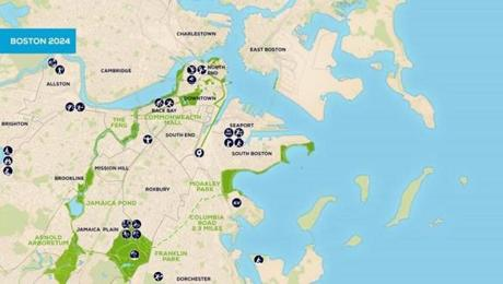 A closer view of the Boston area shows sites envisioned in and around the city.