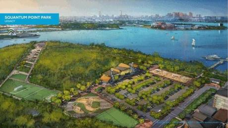 A rendering of what Squantum Park would look like following the Games.
