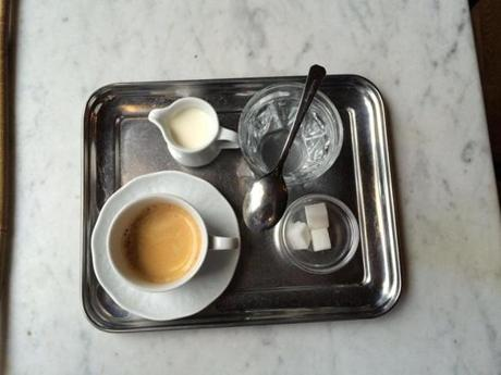 The serving, at Cafe Sperl, is how its been done for centuries in Vienna, with a small glass of water and an elegant tray