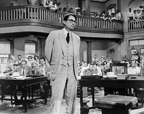 "Actor Gregory Peck as Atticus Finch in the 1962 movie adaptation of ""To Kill a Mockingbird."""