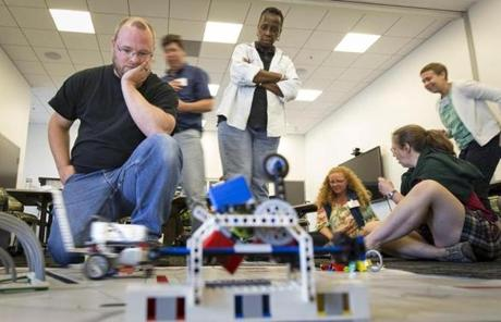 Sumner tested his Lego robot at the Massachusetts Green High Performance Computing Center.