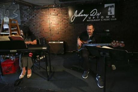 Bass player David Mercure and his wife played at Johnny D's during their well-known Sunday jazz brunch.