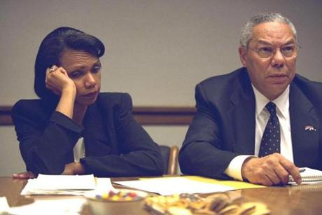 RC: Peoc Room Meetings on the Dayt of the Terrorist Attacks. Powell and Rice. PEOC