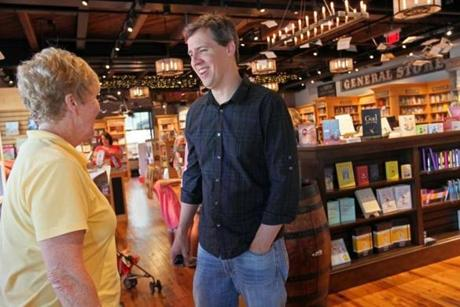 Author-owner Jeff Kinney spoke with a teacher at An Unlikely Story.