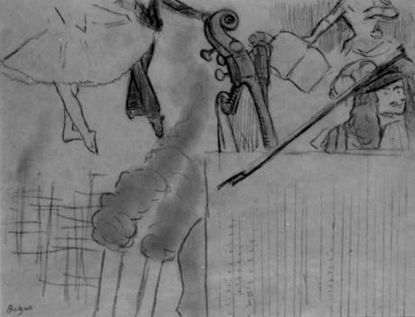 Artwork stolen in Isabella Stewart Gardner Museum heist-- Degas, ÒProgram for an Artistic Soiree, Study 2Ó: Stolen from the Short Gallery. A less finished version, charcoal on buff paper, 23.4 x 30 cm. (FBI)