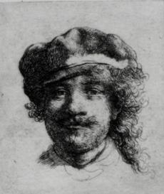 Etching, 1 3/4x2 in. (Bartsch 2, Rovinski 2, Hind 57). A small etching nearly the size of a postage stamp, also referred to as Portrait of the Artist as a Young Man, it was completed in 1633 when the artist was 27 years of age. The small work was affixed to the side of a carved oak cabinet in the Dutch Room beneath Rembrandt's painted Self-Portrait of 1929. (FBI) --- ONLINE CAPTION: Rembrandt, self portrait: Stolen from the Dutch Room. Etching, 1 3/4