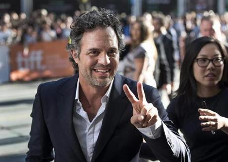 Ruffalo flashed the peace sign as he arrived on the red carpet.