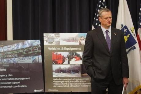 Baker listened as reporters asked questions regarding the $82.7 million MBTA Resiliency Plan that he announced in June.