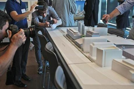 Boston, MA., 09/17/15, A tour of New Balance's new headquarters on Guest Street. Journalists get a view of the model of future development on the Allston Brighton site. Suzanne Kreiter/Globe staff