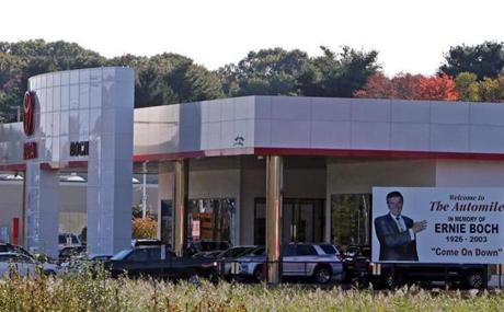 This Toyota dealership is one of Ernie Boch Jr.'s businesses on the Automile in Norwood, where he will continue to sell Ferraris and Maseratis.
