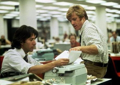 "Robert Redford (right) as Bob Woodward and Dustin Hoffman (left) as Carl Bernstein in ""All the President's Men."""