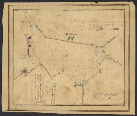"A plan of Cambridge Green, 1780 September 14 -- Small pen-and-ink and watercolor drawing of Cambridge Green created by Harvard senior John Davis, presumably as part of his undergraduate mathematical coursework. The map surveys Cambridge Commons and includes a few rough outlines of College buildings and the Episcopal church, and notes the burying ground, and the roads to Charlestown, Menotomy, the pond, Watertown, and the bridge. The original handwritten text is faded and was annotated with additional text by Davis including the note ""[taken in my Senior year at H. College Septr 1780] Surveyed in concert with classmates, Atkins, Hall 1st, Howard, Payne, &c.- J. Davis."" There is a note that ""Atkins afterwards took the name of Tying."" Davis refers to Dudley Atkins Tyng, Joseph Hall, Bezaleel Howard, and Elijah Paine, all members of the Harvard Class of 1781. (Colonial North American Project at Harvard University)"