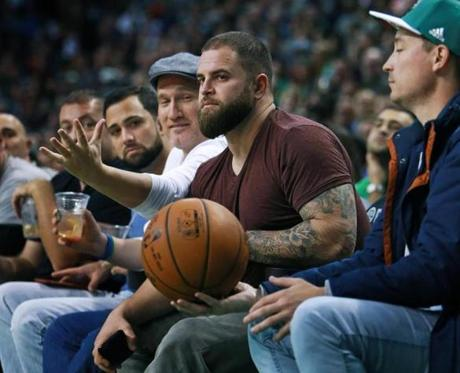 Former Red Sox first baseman Mike Napoli was seated courtside during a Celtics game last week.