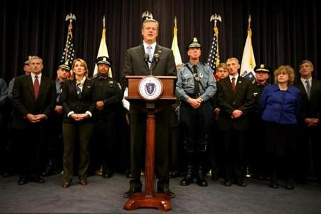 Gov. Charlie Baker spoke about security and the recent Paris terrorist attacks during a news conference at the State House.