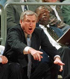 "FILE - In a Jan. 22, 1997 file photo, North Carolina head coach Dean Smith yells at his players during ACC basketball action against Florida State in Tallahassee, Fla. Smith, the North Carolina basketball coaching great who won two national championships, died ""peacefully"" at his home Saturday night, Feb. 7, 2015, the school said in a statement Sunday from Smith's family. He was 83. (AP Photo/Phil Coale, File)"