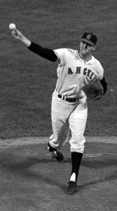 FILE - In this June 12,1966, file photo, California Angels pitcher Dean Chance delivers during a baseball game in California. Chance, who won the 1964 Cy Young Award and later pitched a no-hitter, died Sunday, Oct. 11, 2015. He was 74. The funeral home handling the arrangements near where he lived in Ohio confirmed Chance died. There were no details on the cause of death. (AP Photo/File)