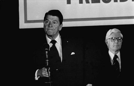 "Ronald Reagan in 1980 in Nashua, during his ""I paid for this microphone"" moment."