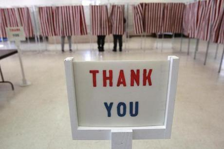 Voters were thanked for voting at the Baptist Parish Hall in Allenstown.