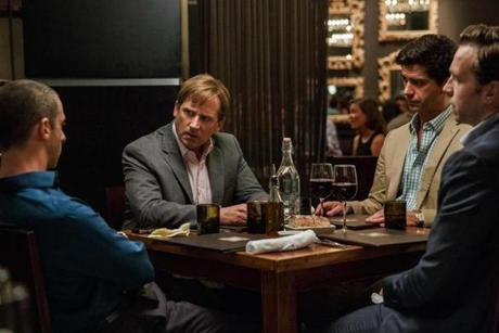 "From left: Jeremy Strong as Vinnie Daniel, Steve Carell as Mark Baum, Hamish Linklater as Porter Collins, and Rafe Spall as Danny Moses in ""The Big Short."""