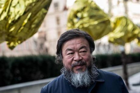 Ai Weiwei met with media last month in front of the Trade Fair Palace in Prague.
