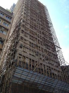 Bamboo scaffolding is still used by builders in this fully modern city.