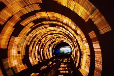 The Bund Sightseeing Tunnel offers a dynamic light and audio show on the ride to the Pudong neighborhood.