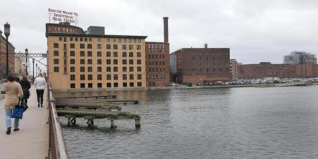 The site of the soon-to-be GE Boston headquarters along South Boston's Fort Point Channel, where several existing buildings will be rehabbed and an additional one built.
