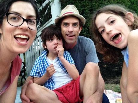 Pictured: Alysia Abbott, Jeff Howe, Annabel Abbott Howe, and Finn Abbott Howe.